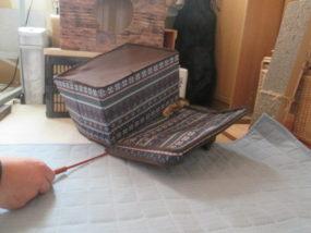 箱で遊ぶサビ猫